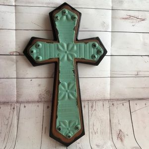 Wood & Metal Cross Wall Decoration Turquoise